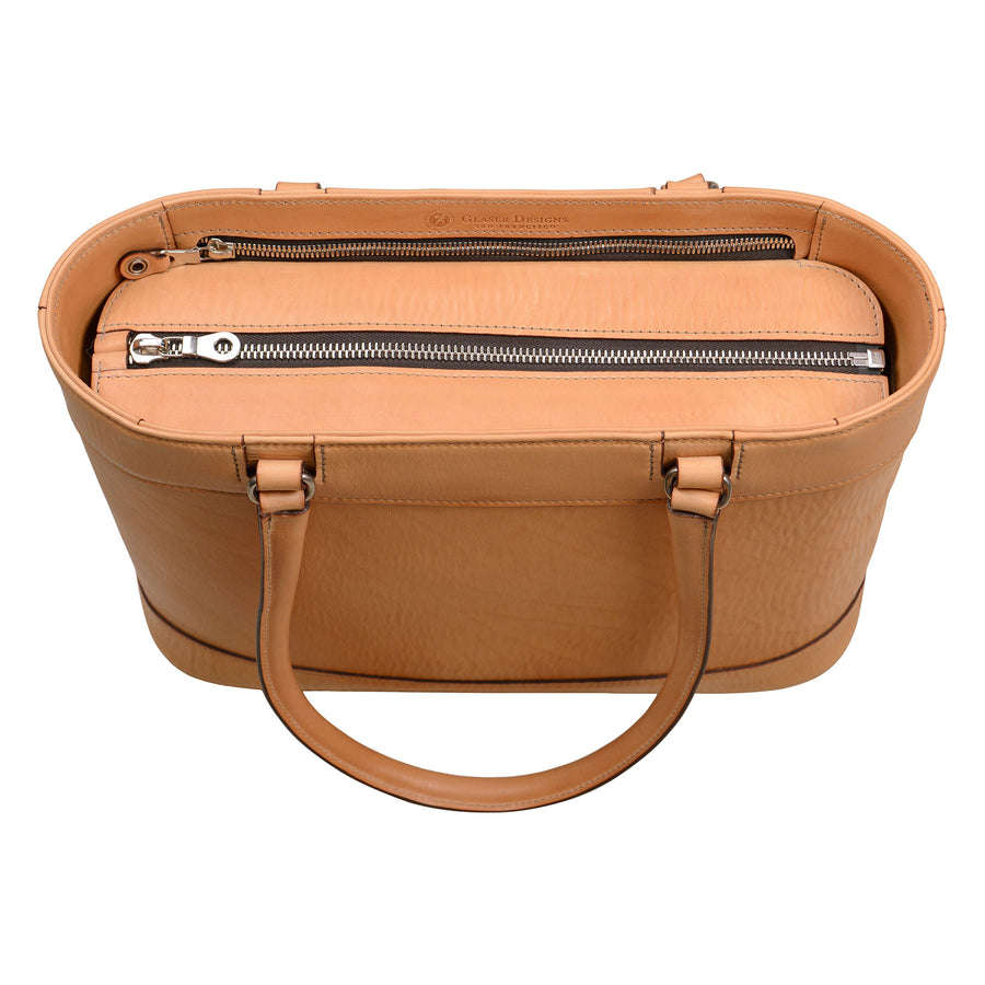 Business Tote with Long Handles: Hand-Burnished Leather