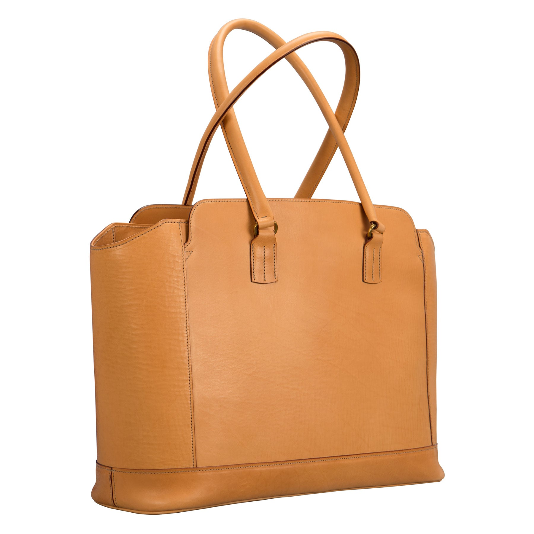 Glaser Designs City Tote with Long Handles . Hand burnished Natural vegetable tanned leather. Solid brass hardware. Made to measure, custom sizes.
