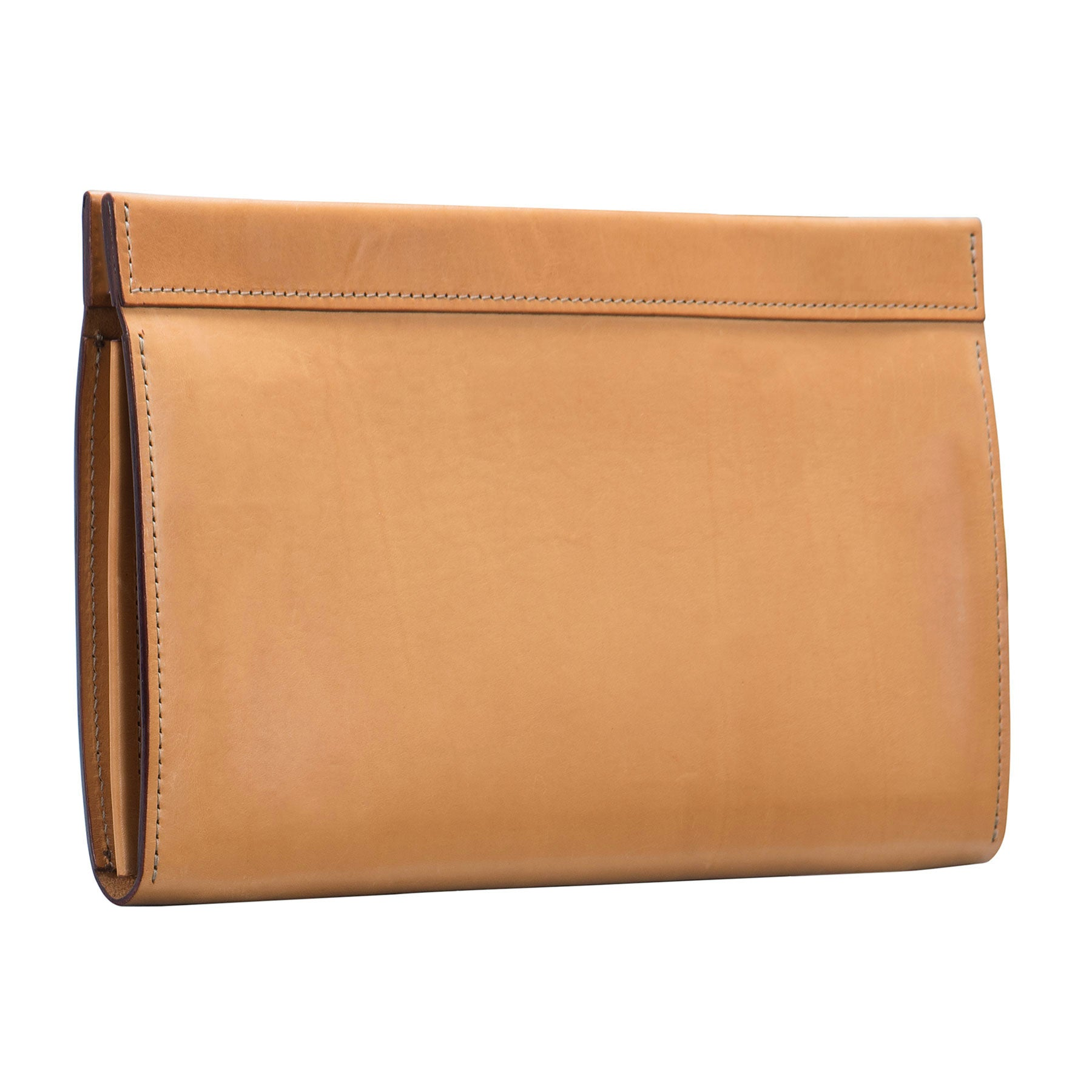 Glaser Designs Clutch Portfolio. Hand burnished Natural vegetable tanned leather. Magnetic closure. Made to-measure, custom sizes.