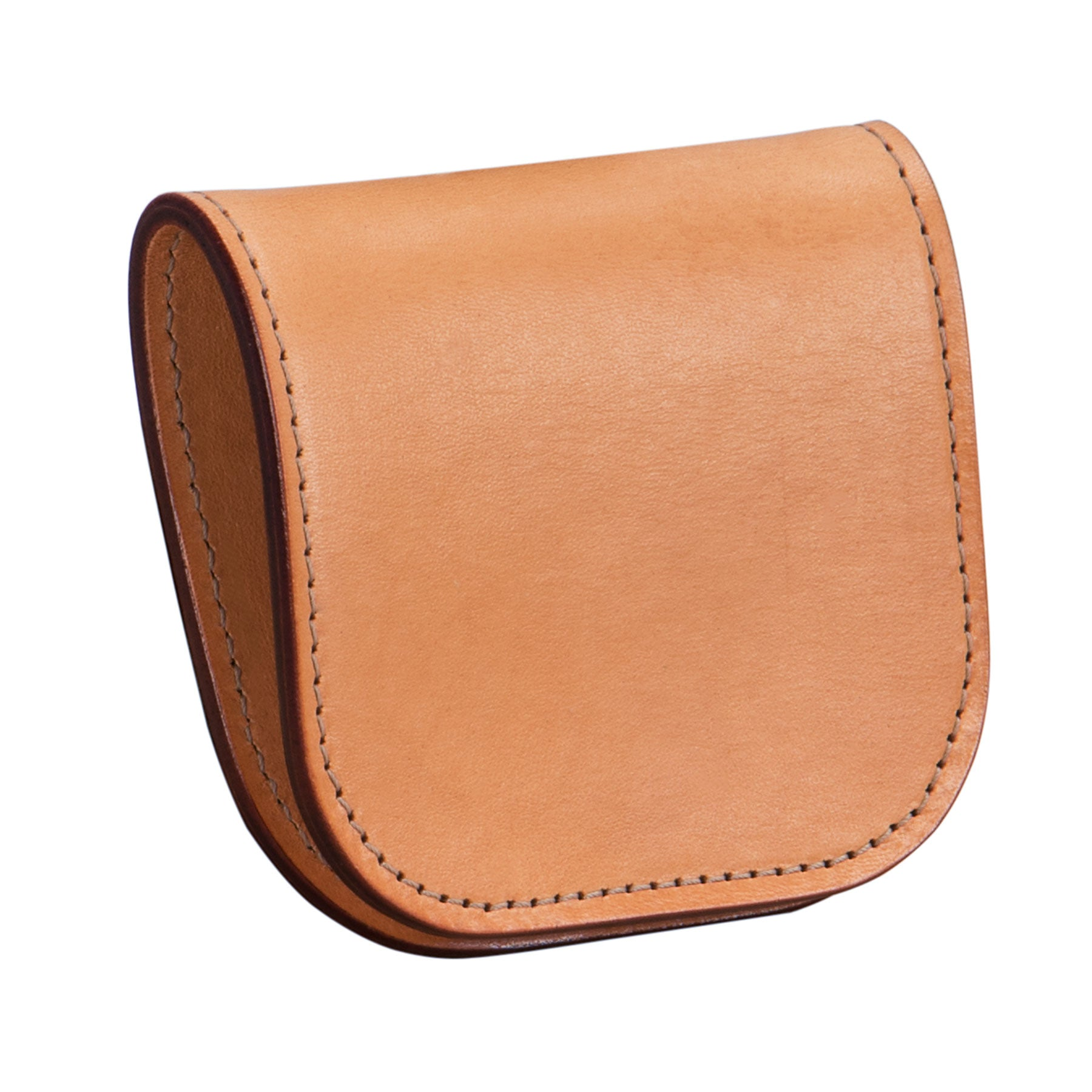 Glaser Designs Coin Case. Hand burnished Natural vegetable tanned leather.