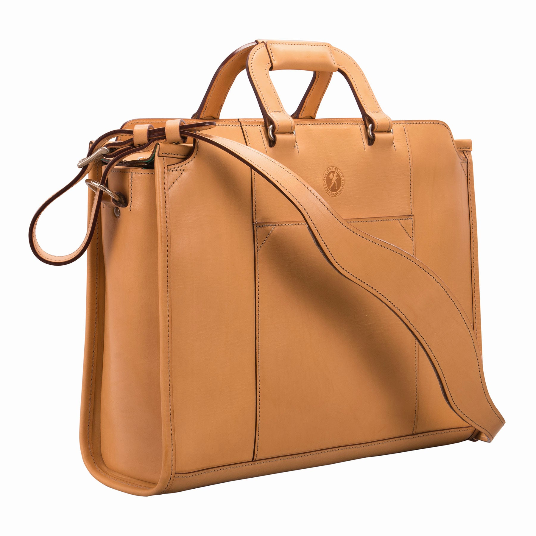Glaser Designs Day Tote. Hand burnished Natural vegetable tanned leather. Solid brass hardware. Made to-measure, custom sizes.