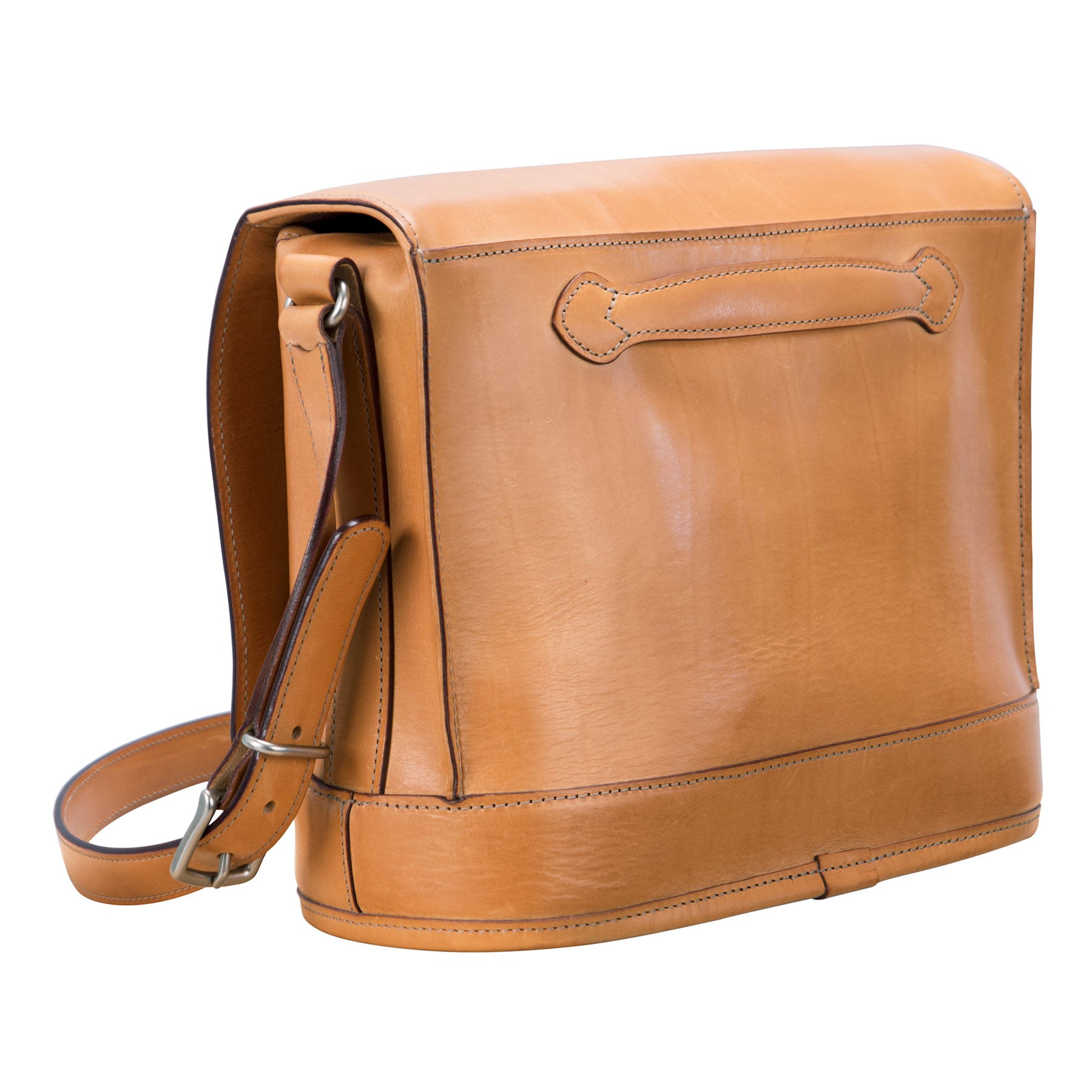 Pedestal Flapover Bag: hand-burnished leather