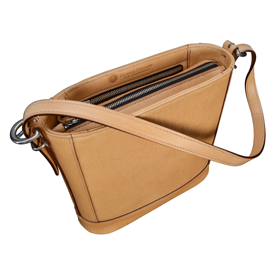 Shoulder Bag: hand-burnished leather