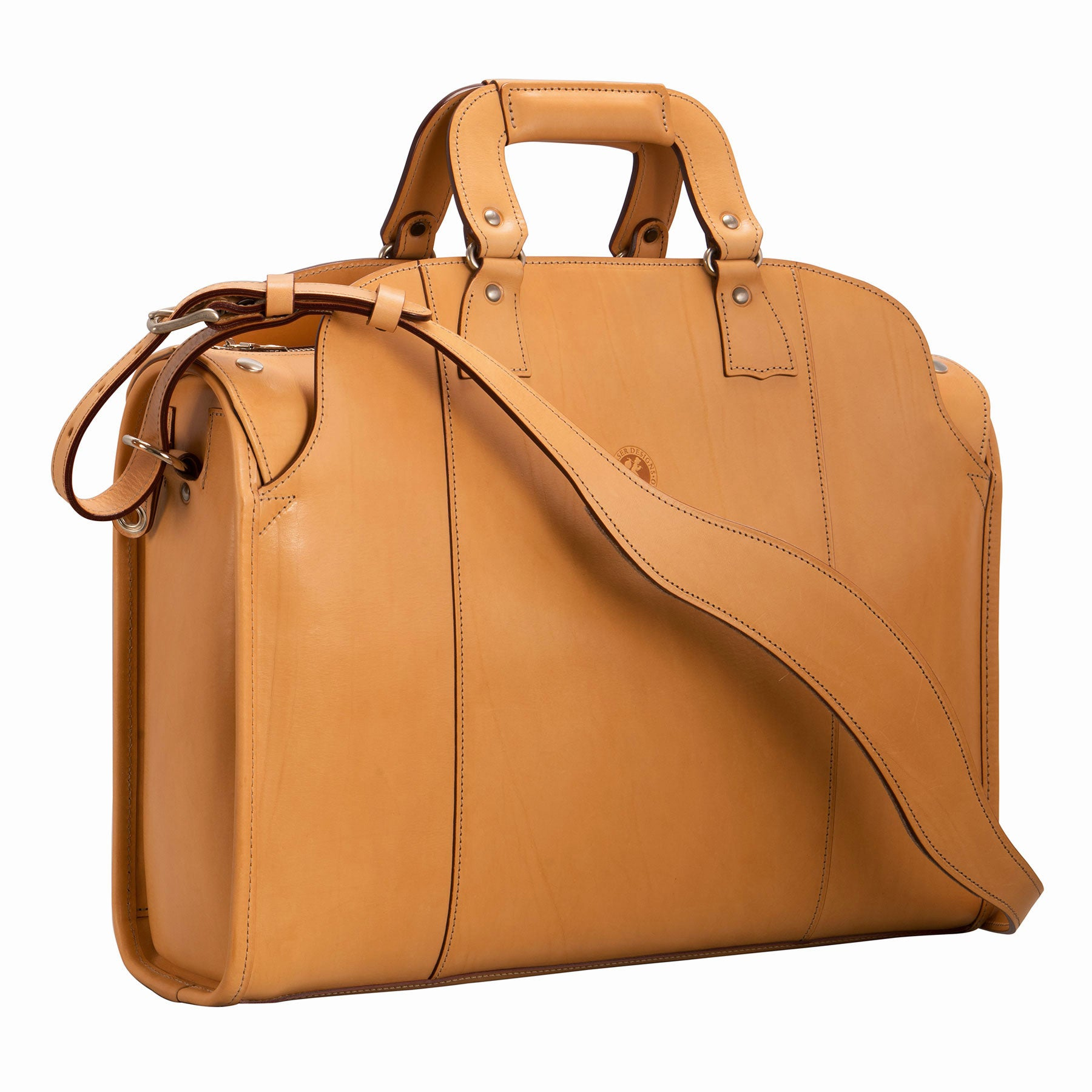 Travelers' Briefcase: hand-burnished leather