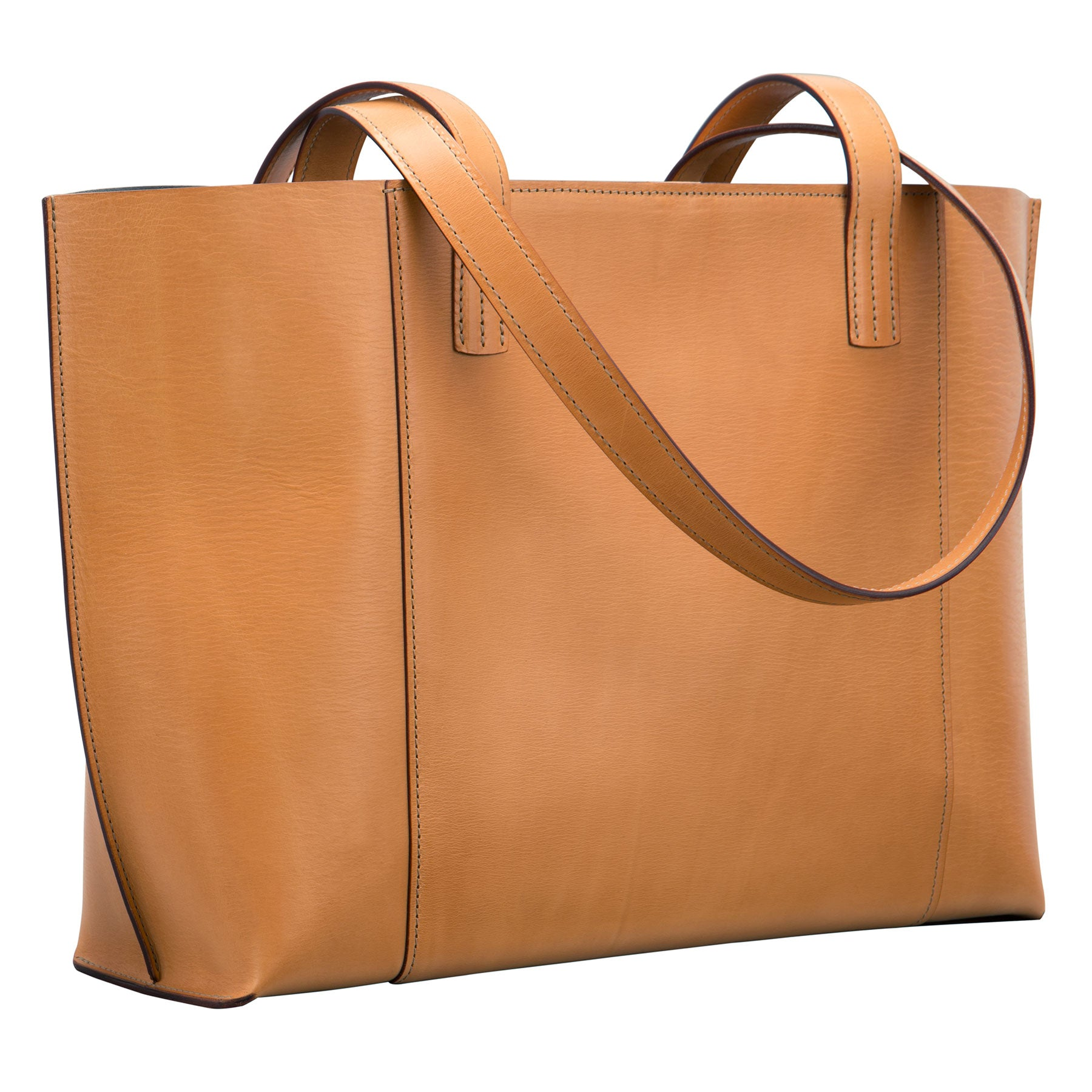 Glaser Designs Ellie Tote. Hand burnished Natural vegetable tanned leather. Made to-measure, custom sizes.