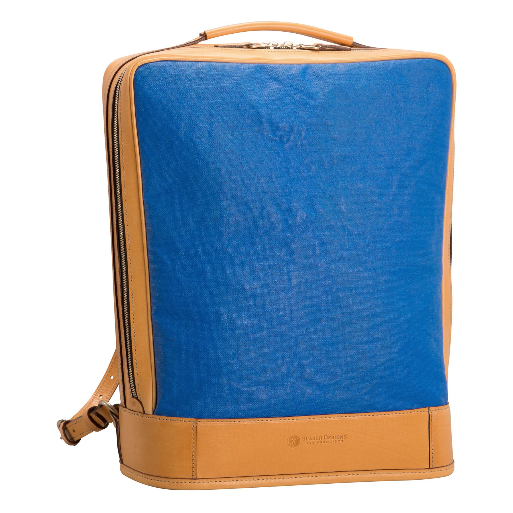 Glaser Designs Business Backpack. Hand burnished Natural vegetable tanned leather with Hand painted Light Blue linen. Solid brass hardware. Made to measure, custom size.