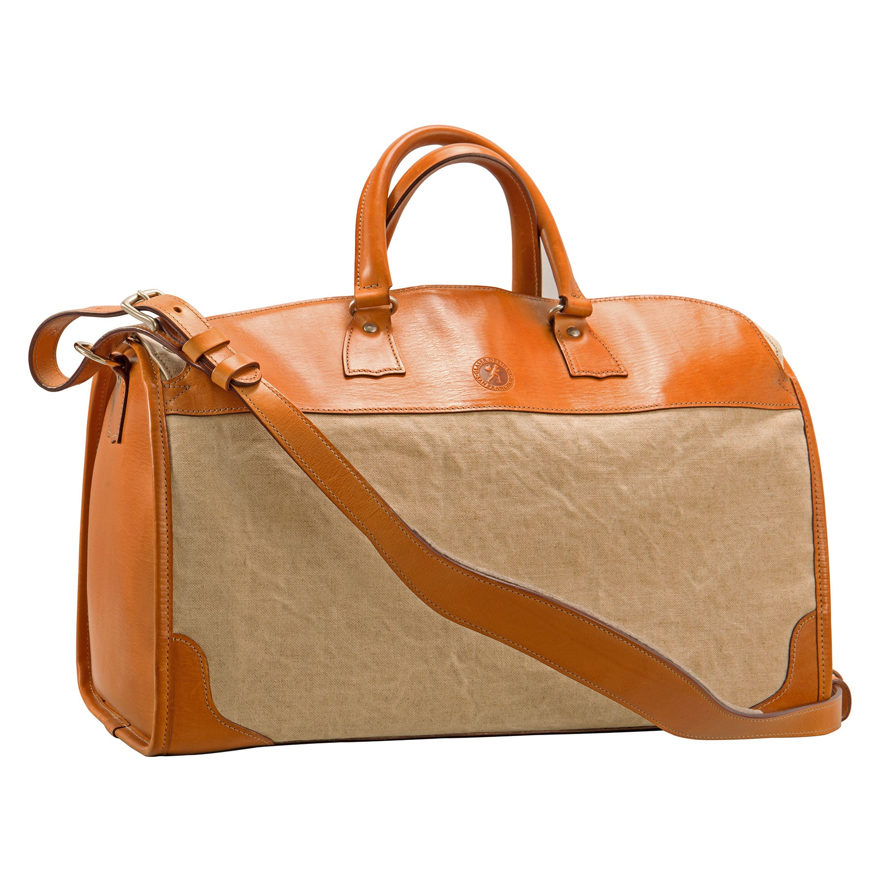 Stadium Bag: Hand-Finished Linen and Hand-Burnished, Natural Leather