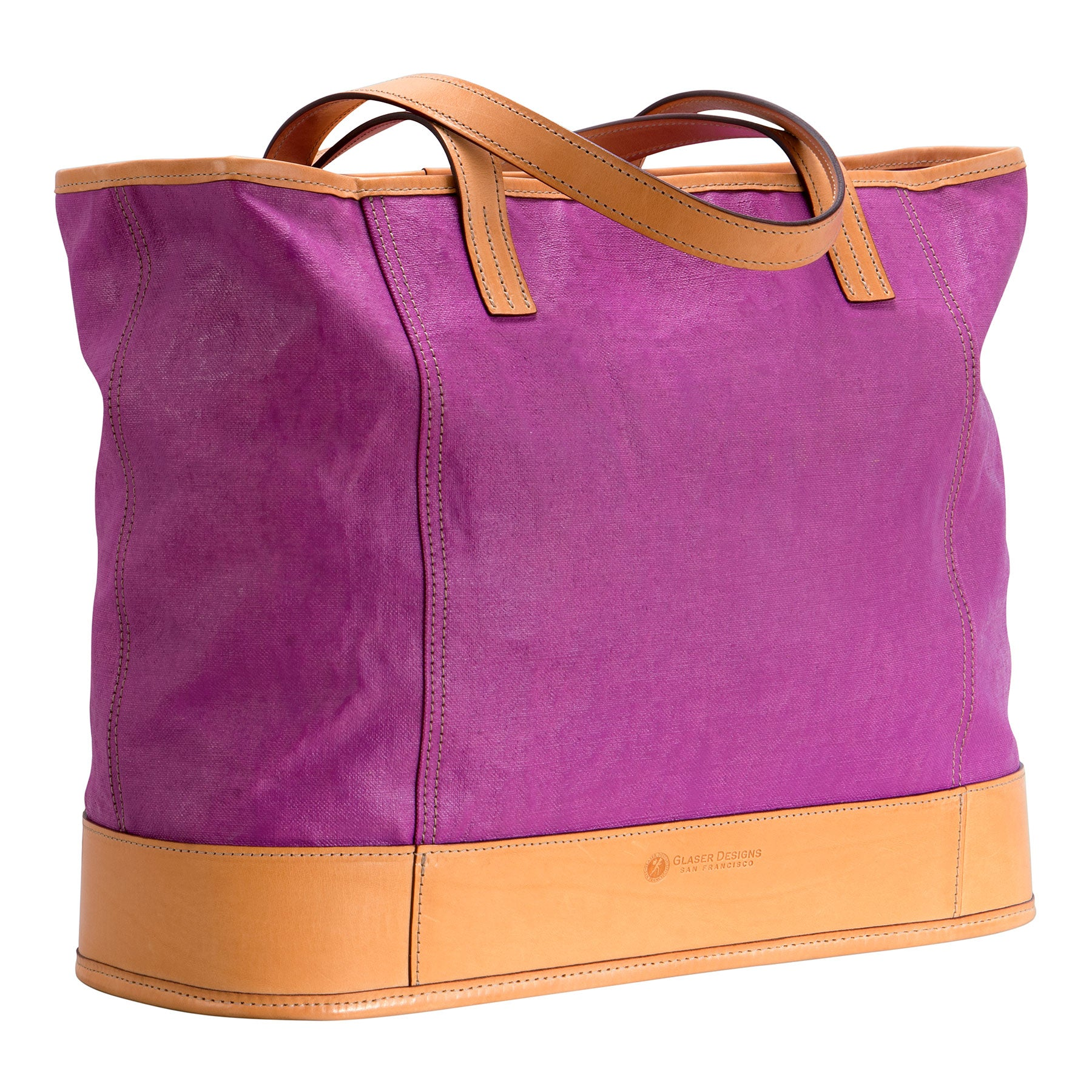 Pedestal Tote: hand-painted linen, hand-burnished leather