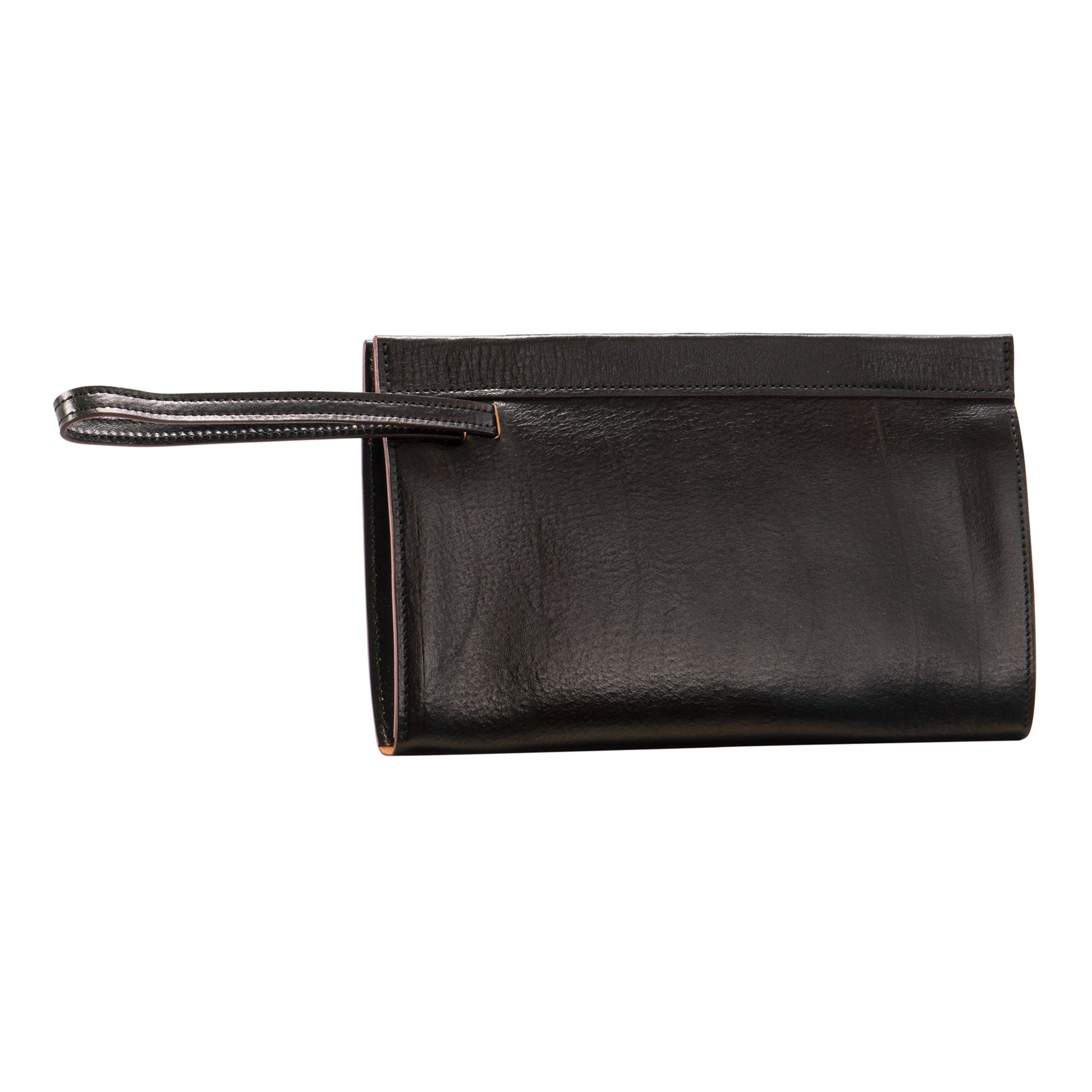 Glaser Designs Clutch Portfolio. Hand colored Black vegetable tanned leather. Magnetic closure and retractable wrist strap. Made to-measure, custom sizes.