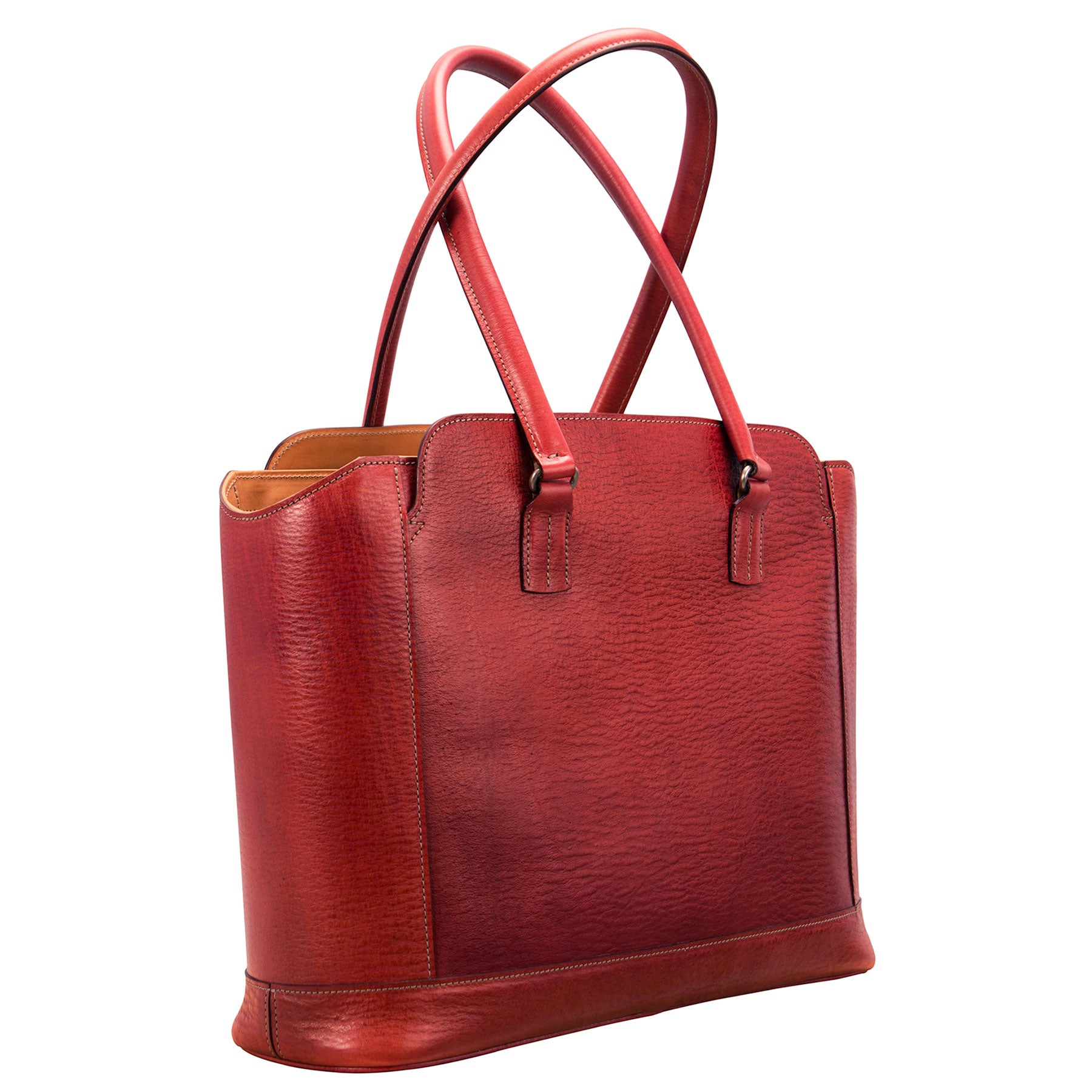 Glaser Designs City Tote with Long Handles. Hand colored Barn Red vegetable tanned leather. Solid brass hardware. Made to measure, custom sizes.