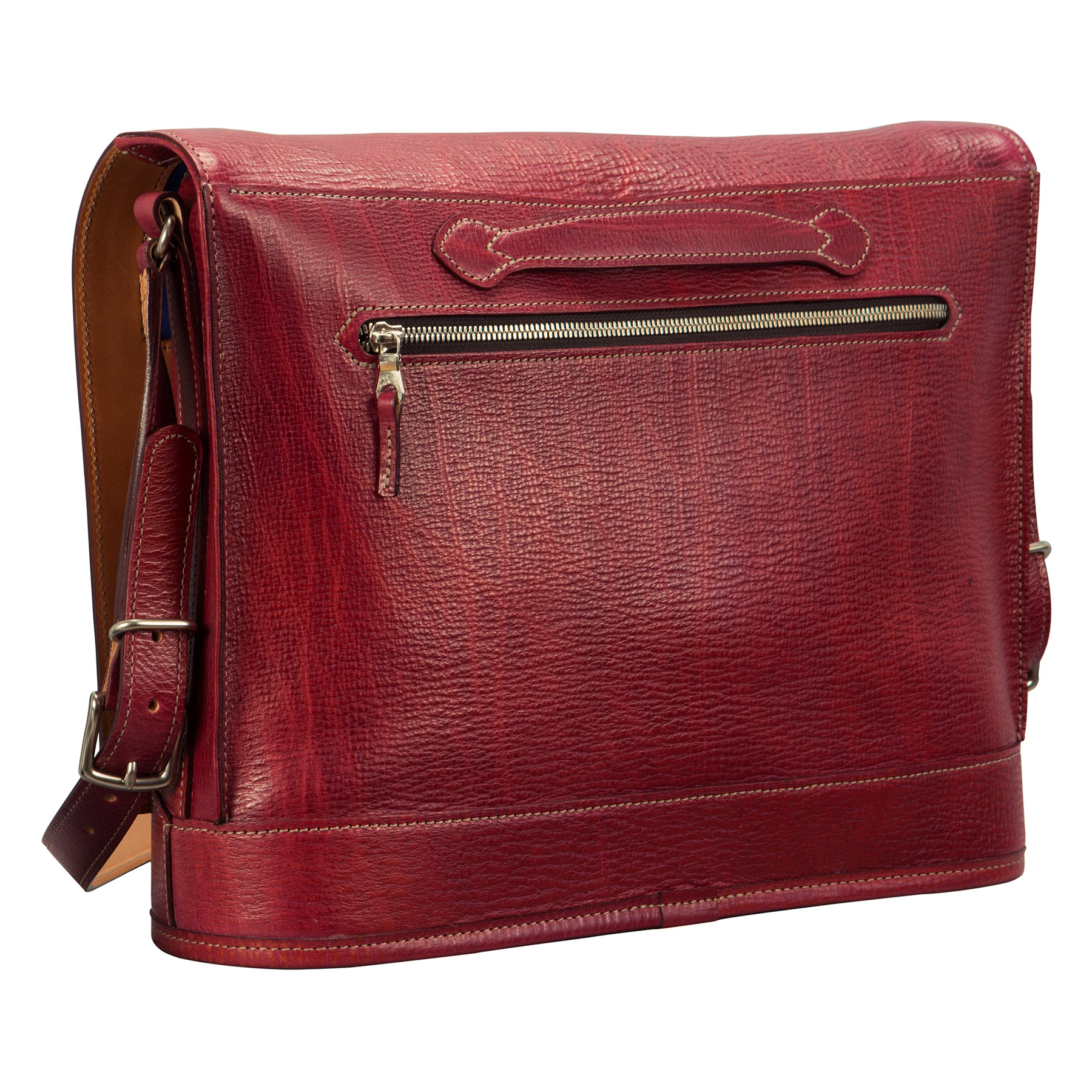Pedestal flapover bag: hand-grained, hand-colored leather.