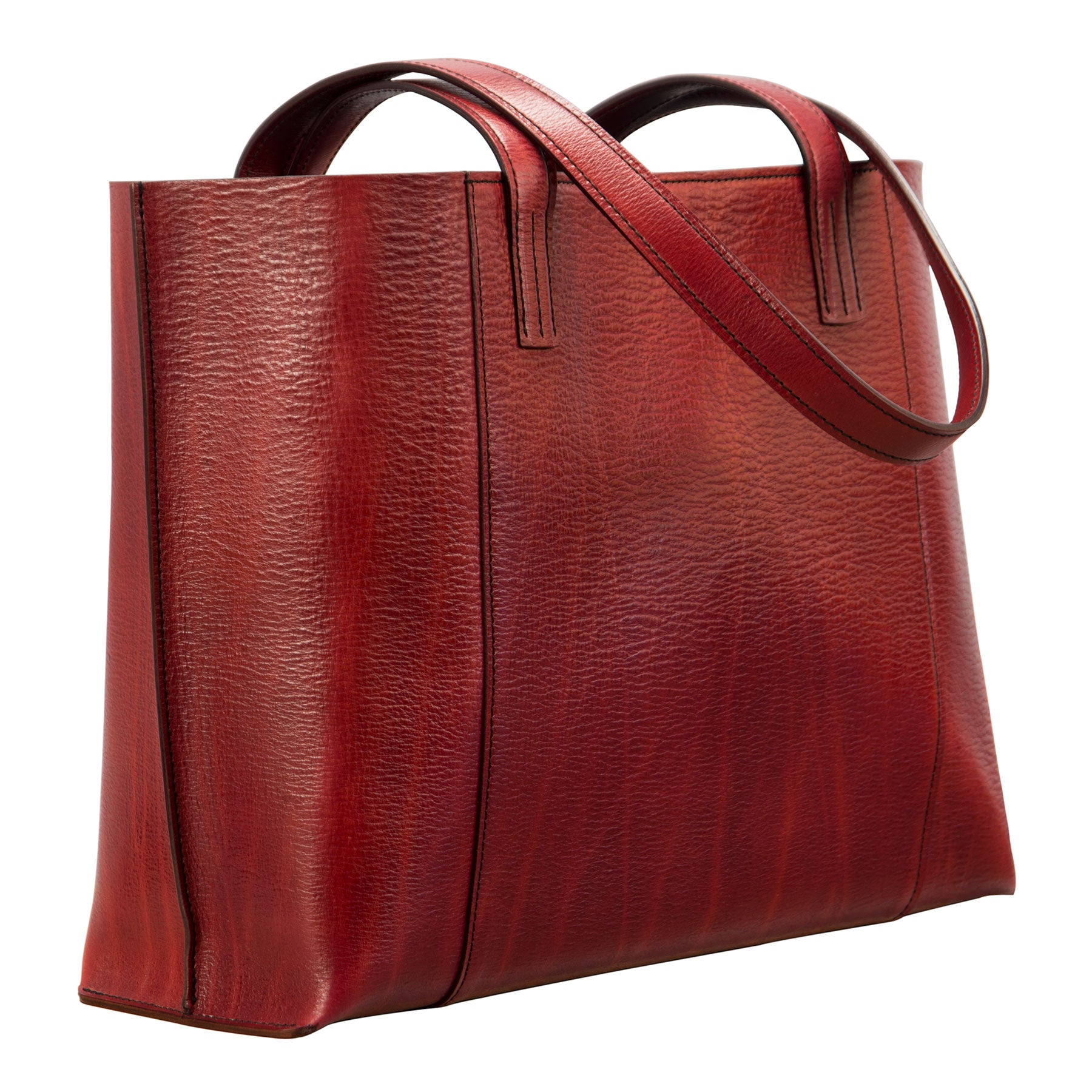 Glaser Designs Ellie Tote. Hand colored Barn Red vegetable tanned leather. Made to-measure, custom sizes.