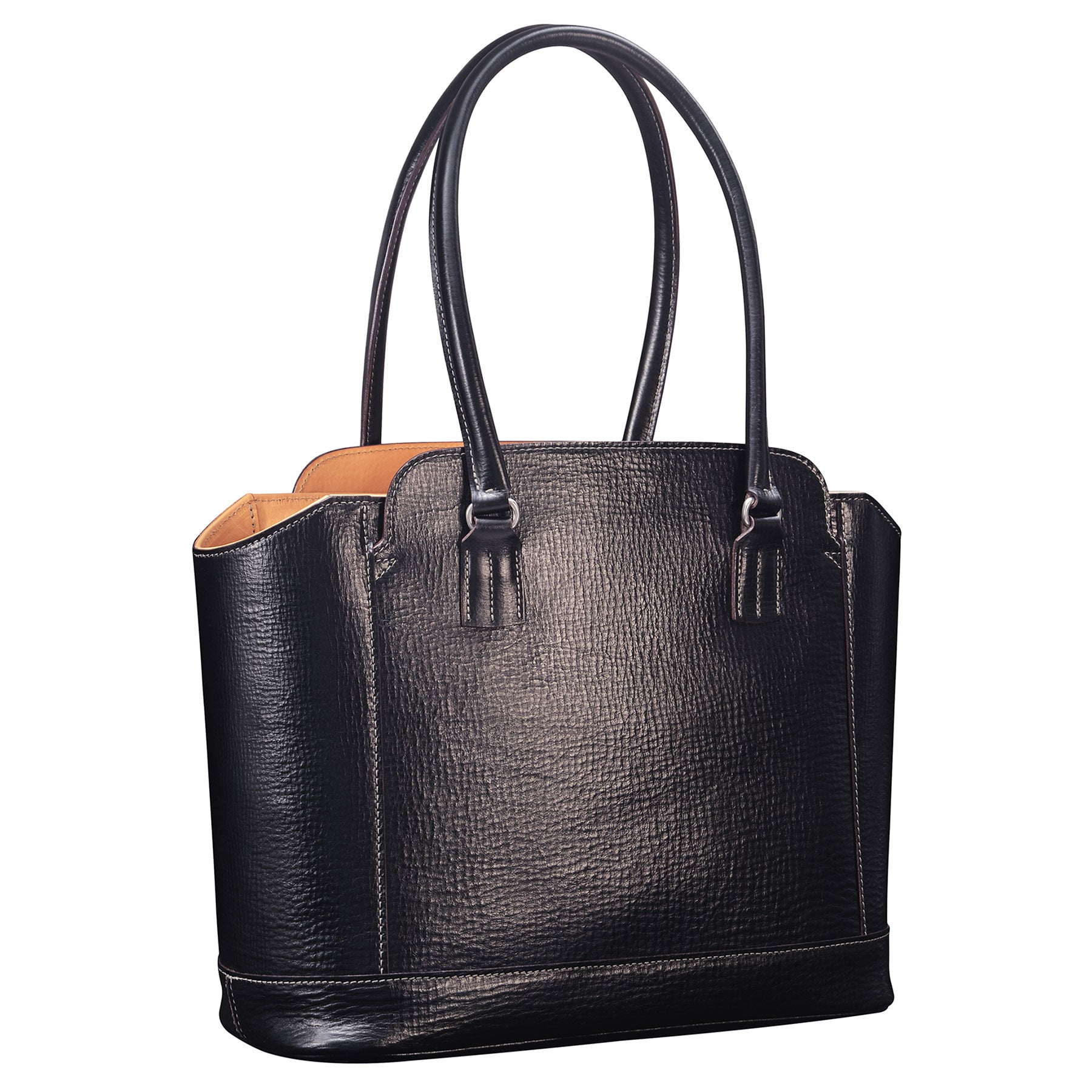 Glaser Designs City Tote with Long Handles. Hand colored Black vegetable tanned leather. Solid brass hardware. Made to measure, custom sizes.