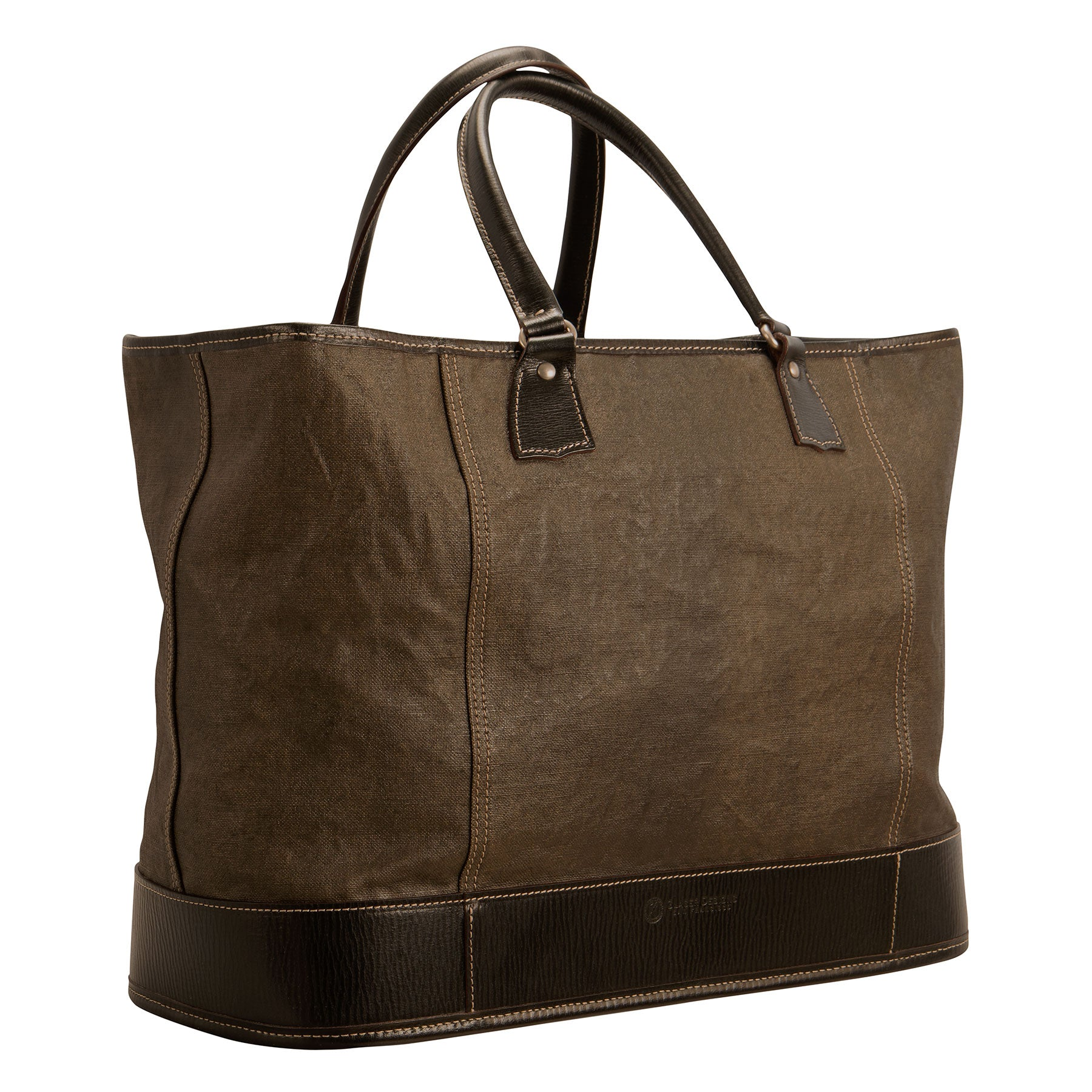 Pedestal Tote: hand-painted linen and hand-grained, hand-colored leather