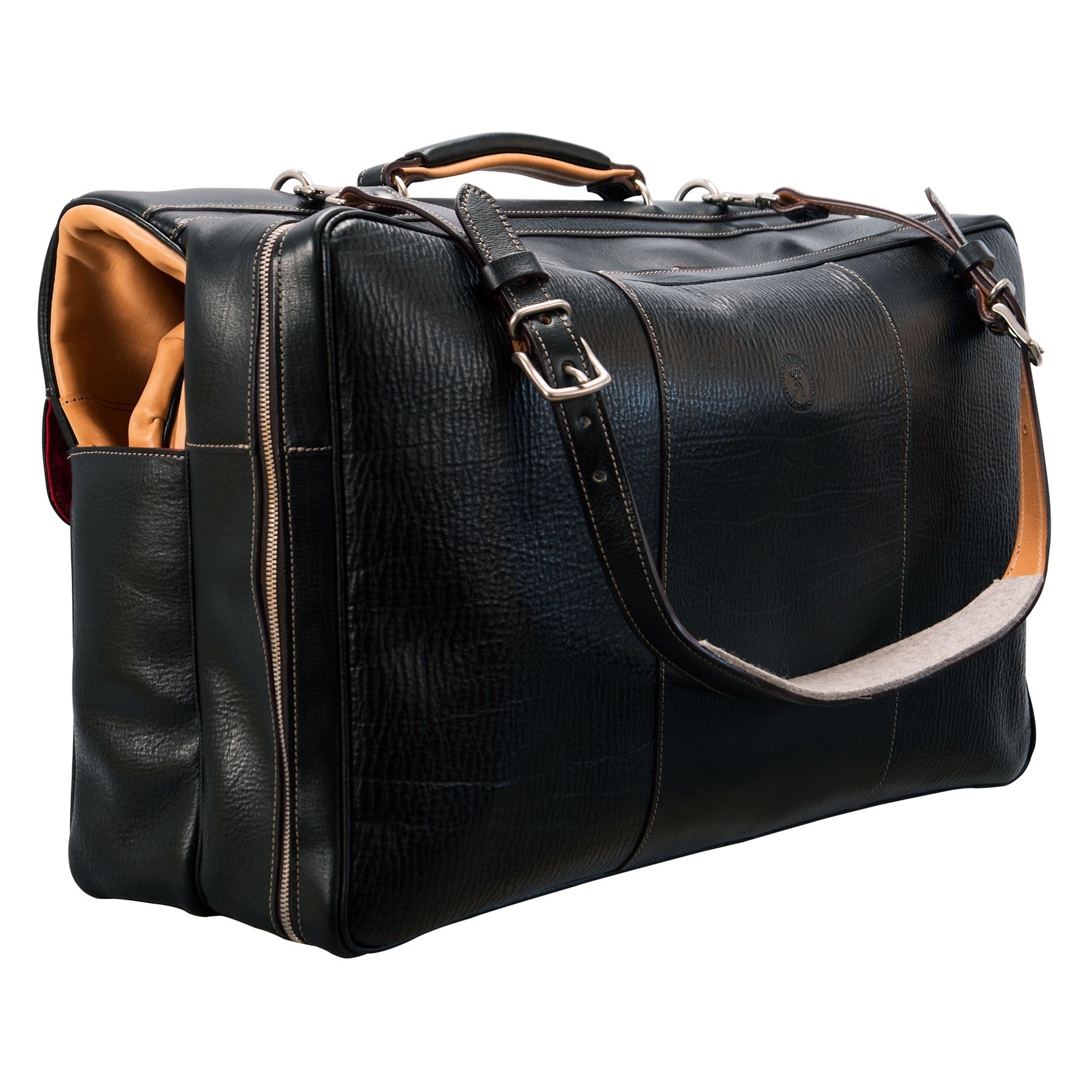 Garment Bag: hand-grained, hand-colored leather