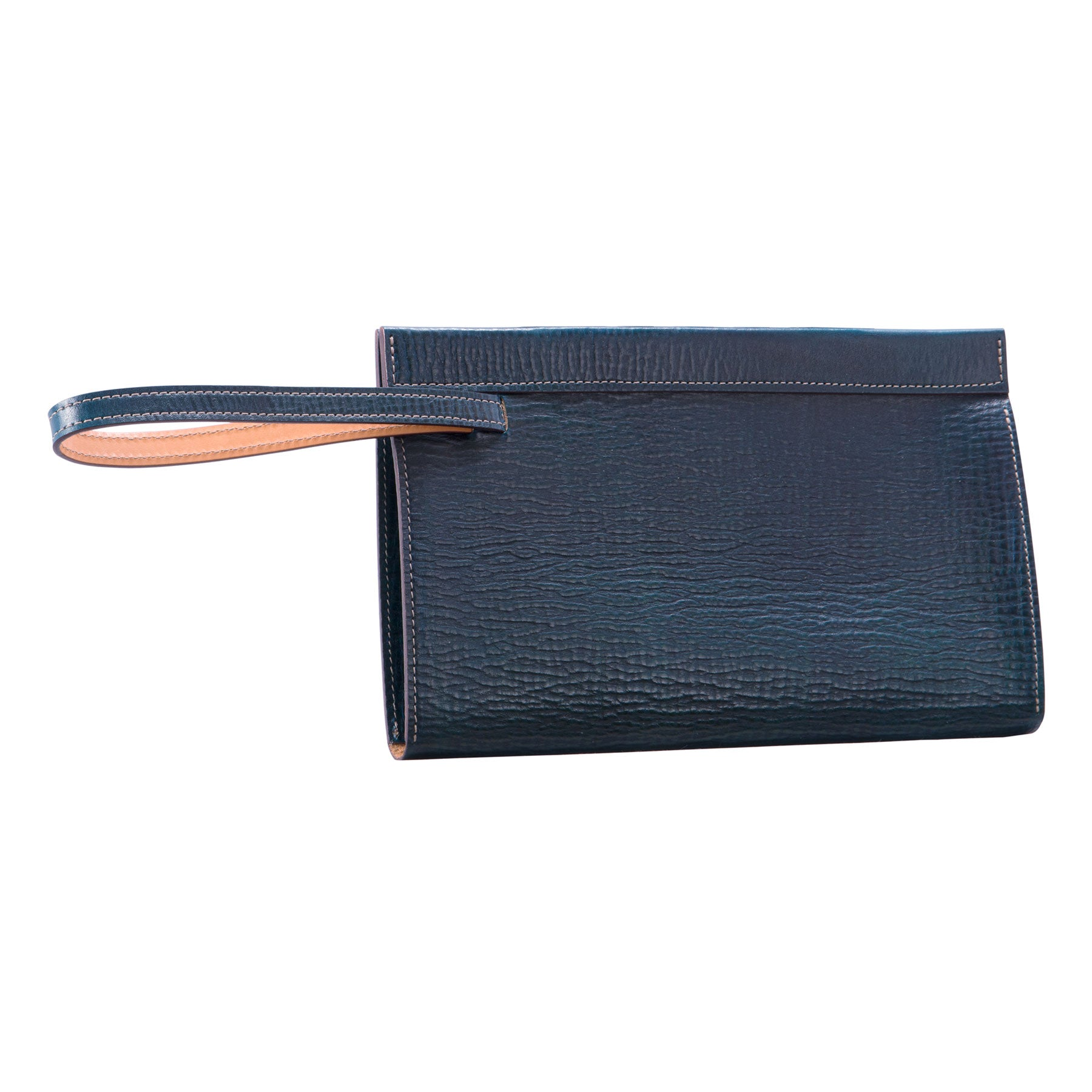 Glaser Designs Clutch Portfolio. Hand colored Blue vegetable tanned leather. Magnetic closure and retractable wrist strap. Made to-measure, custom sizes.