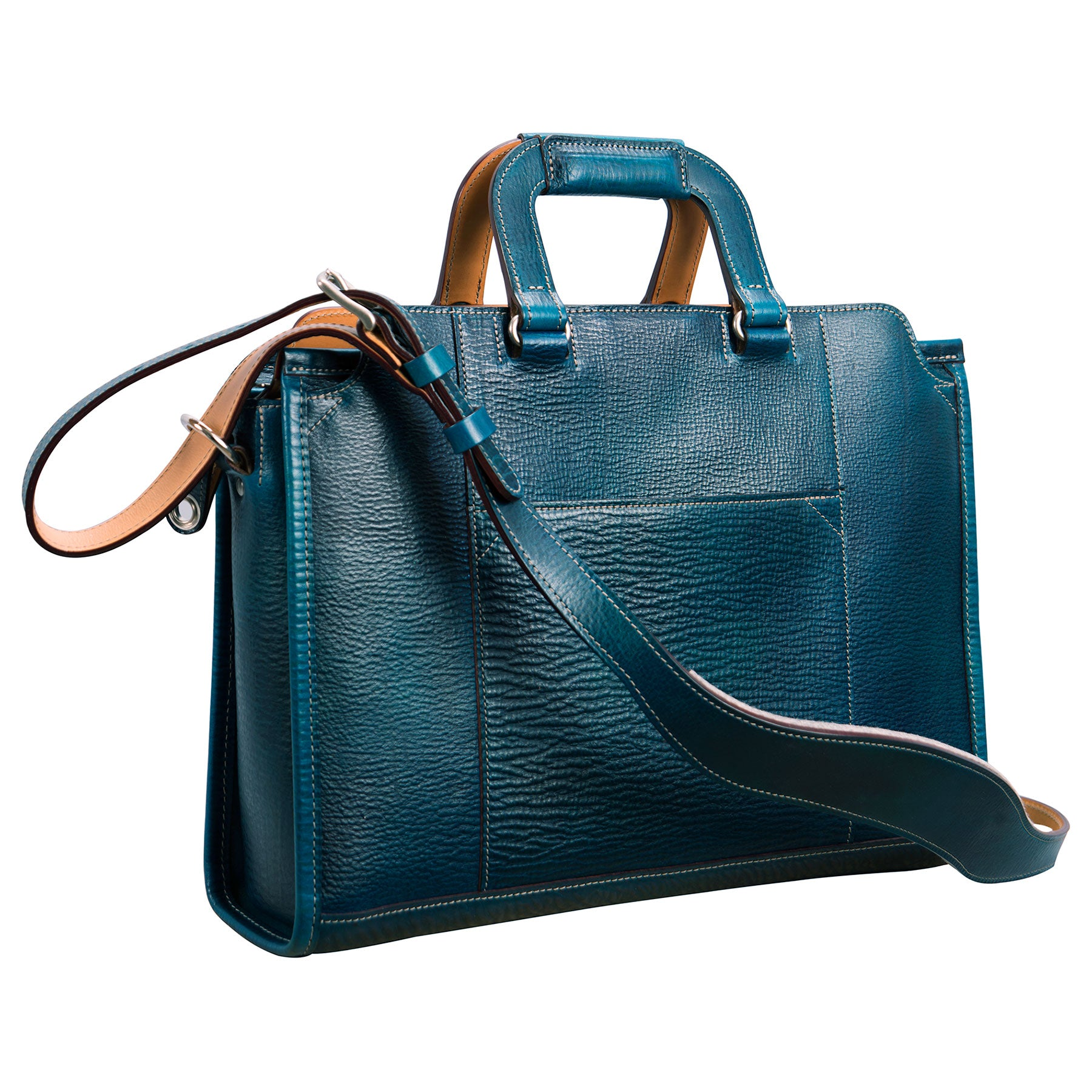 Glaser Designs Day Tote. Hand colored Blue vegetable tanned leather. Solid brass hardware. Made to-measure, custom sizes.