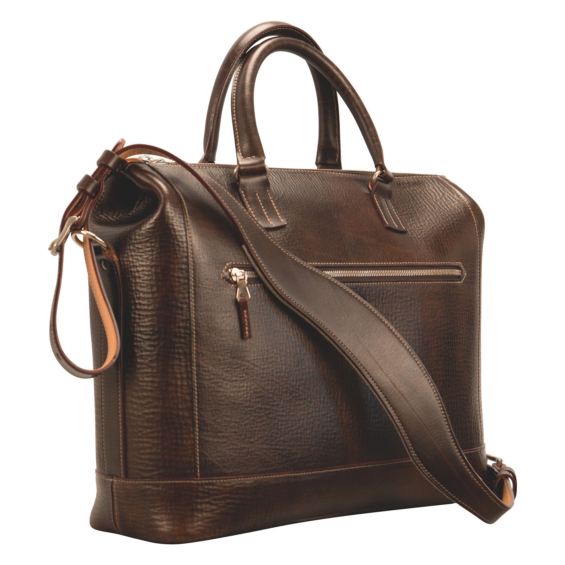 Glaser Designs Club Bag. Hand colored Espresso vegetable tanned leather. Solid brass hardware. Made to-measure, custom sizes.