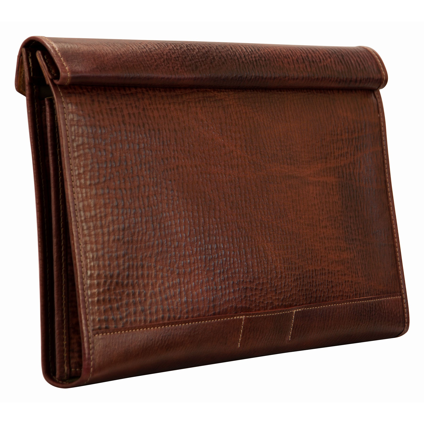 Glaser Designs Flap Folder Holder Portfolio. Hand colored Espresso vegetable tanned leather. Made to-measure, custom sizes.