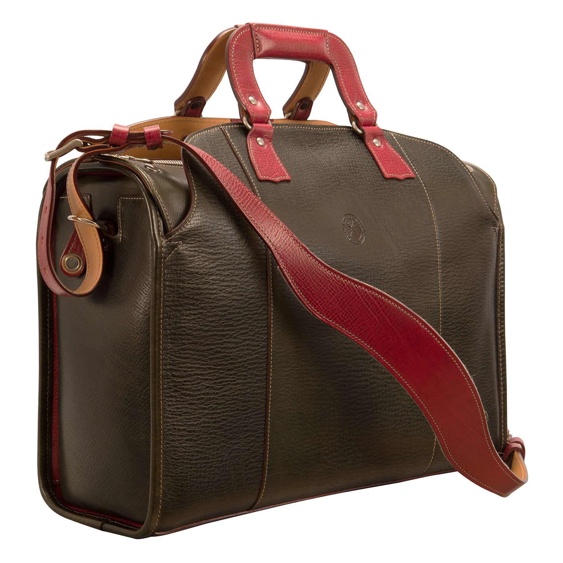 Travelers' Briefcase: Hand-Grained, Hand-Colored Leather