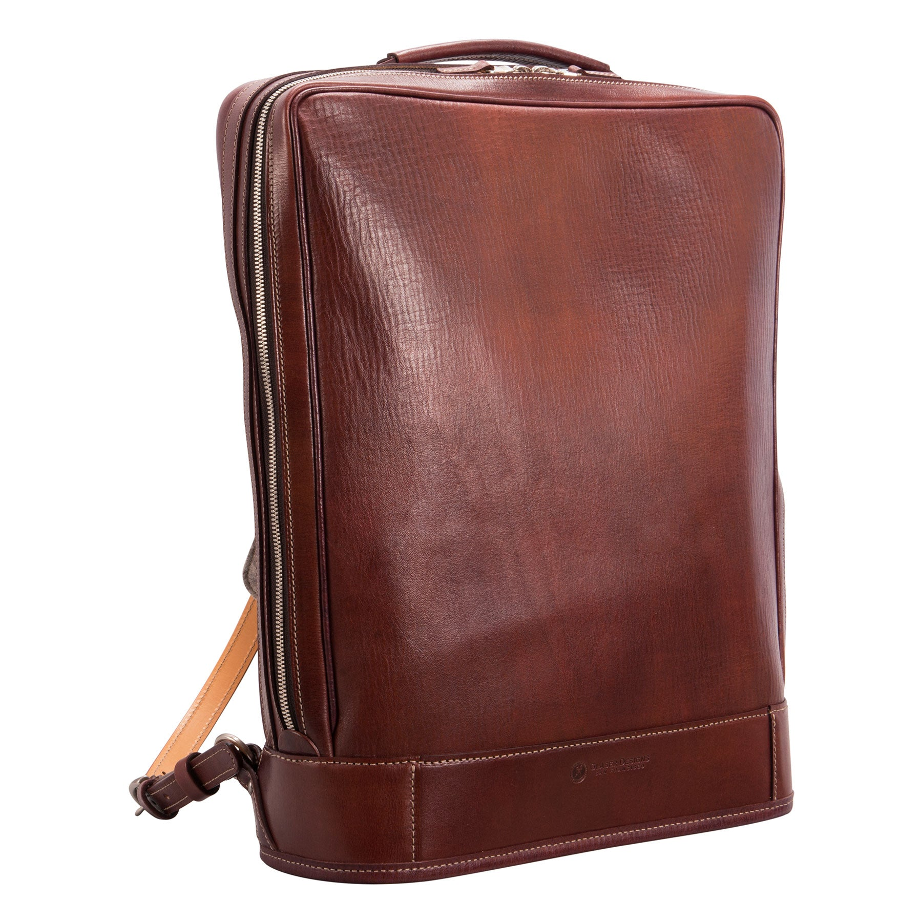 Glaser Designs Business Backpack. Hand colored Sienna vegetable tanned leather. Solid brass hardware. Made to measure, custom size.