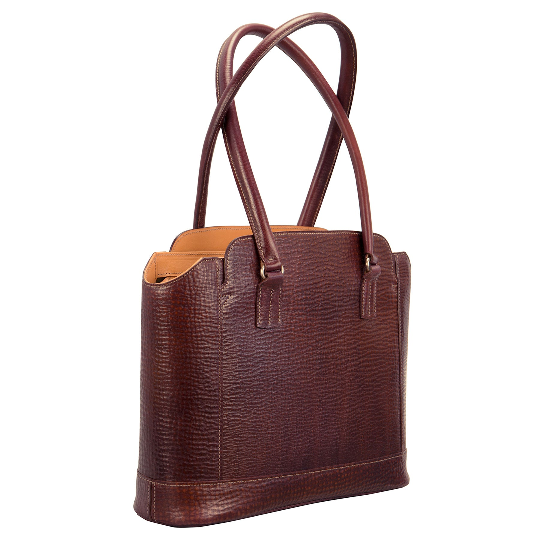 Glaser Designs City Tote with Long Handles. Hand colored Sienna vegetable tanned leather. Solid brass hardware. Made to measure, custom sizes.