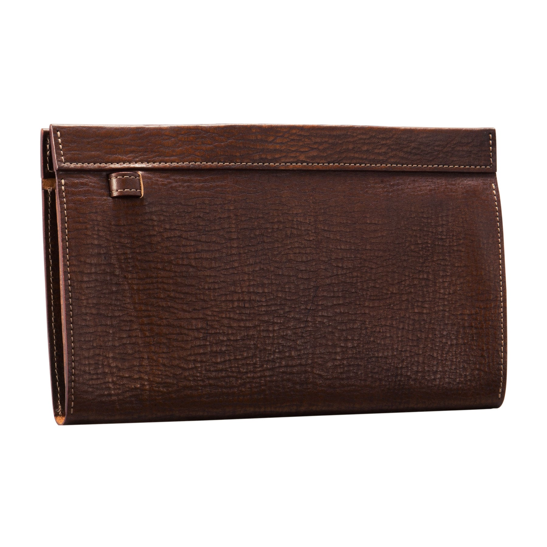 Glaser Designs Clutch Portfolio. Hand colored Sienna vegetable tanned leather. Magnetic closure and retractable wrist strap. Made to-measure, custom sizes.