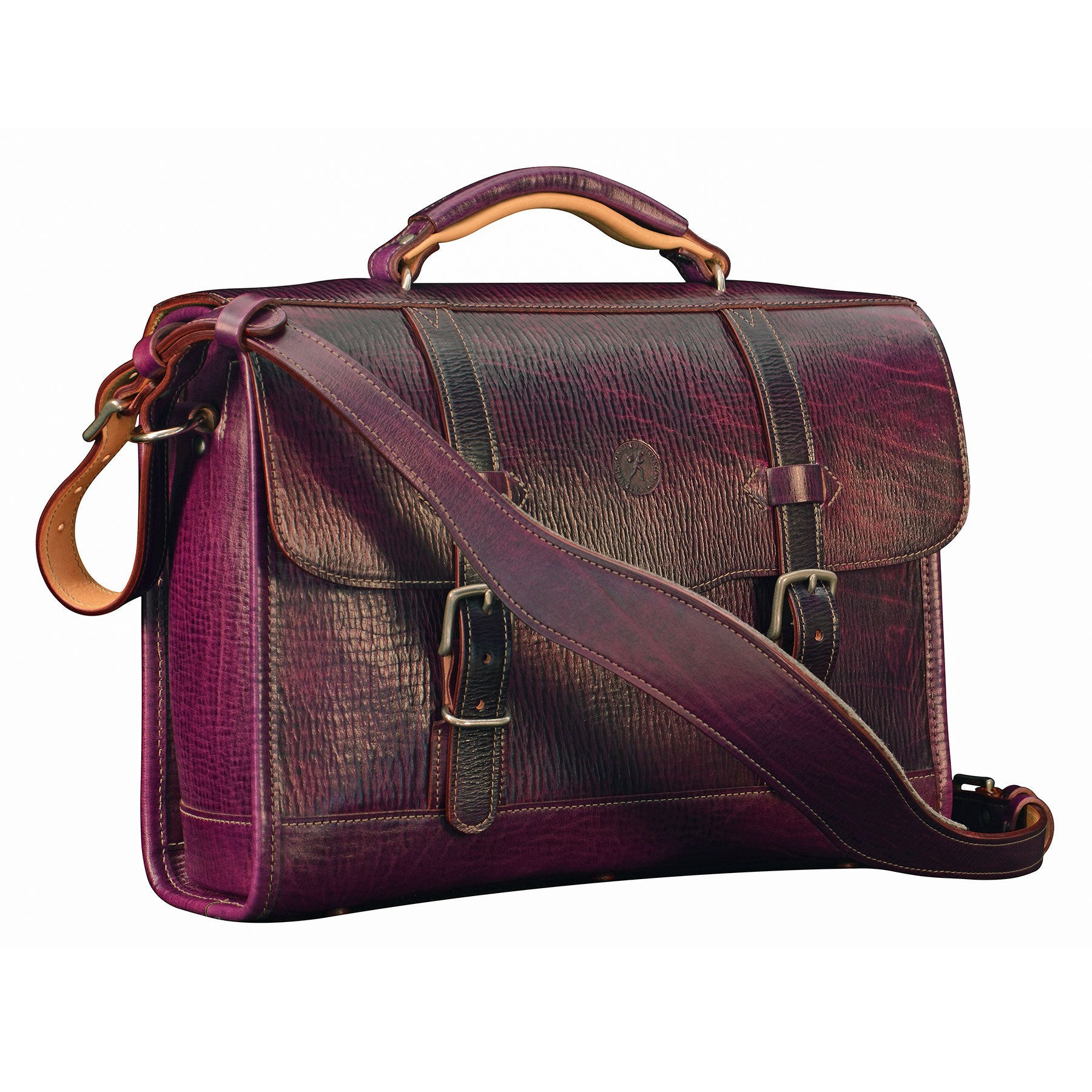 Flaptop Bag: hand-grained, hand-colored leather