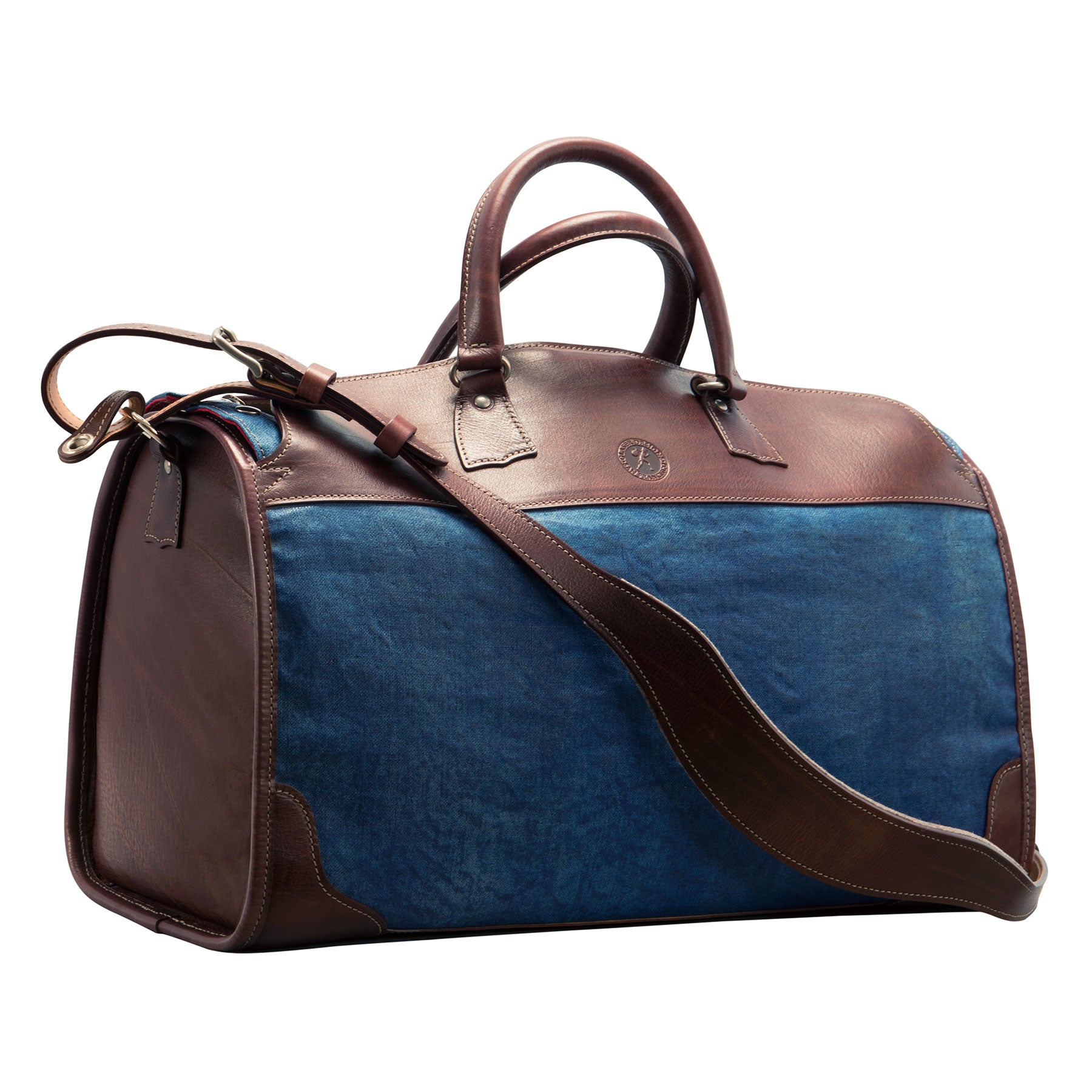 Stadium Bag: hand-painted linen and hand-grained, hand-colored leather