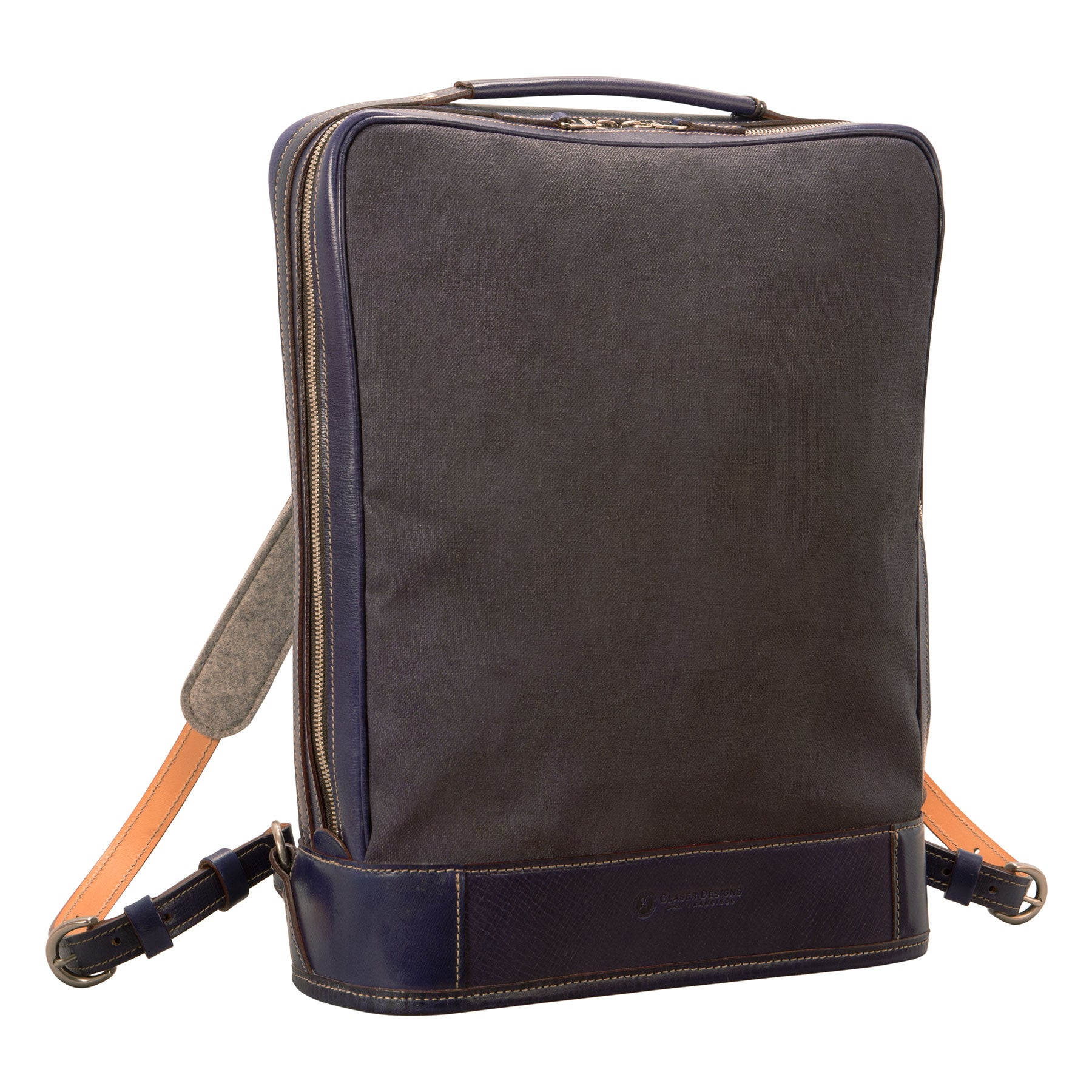 Glaser Designs Business Backpack. Hand colored Midnight Blue vegetable tanned leather with Hand painted Midnight Blue linen. Solid brass hardware. Made to measure, custom size.