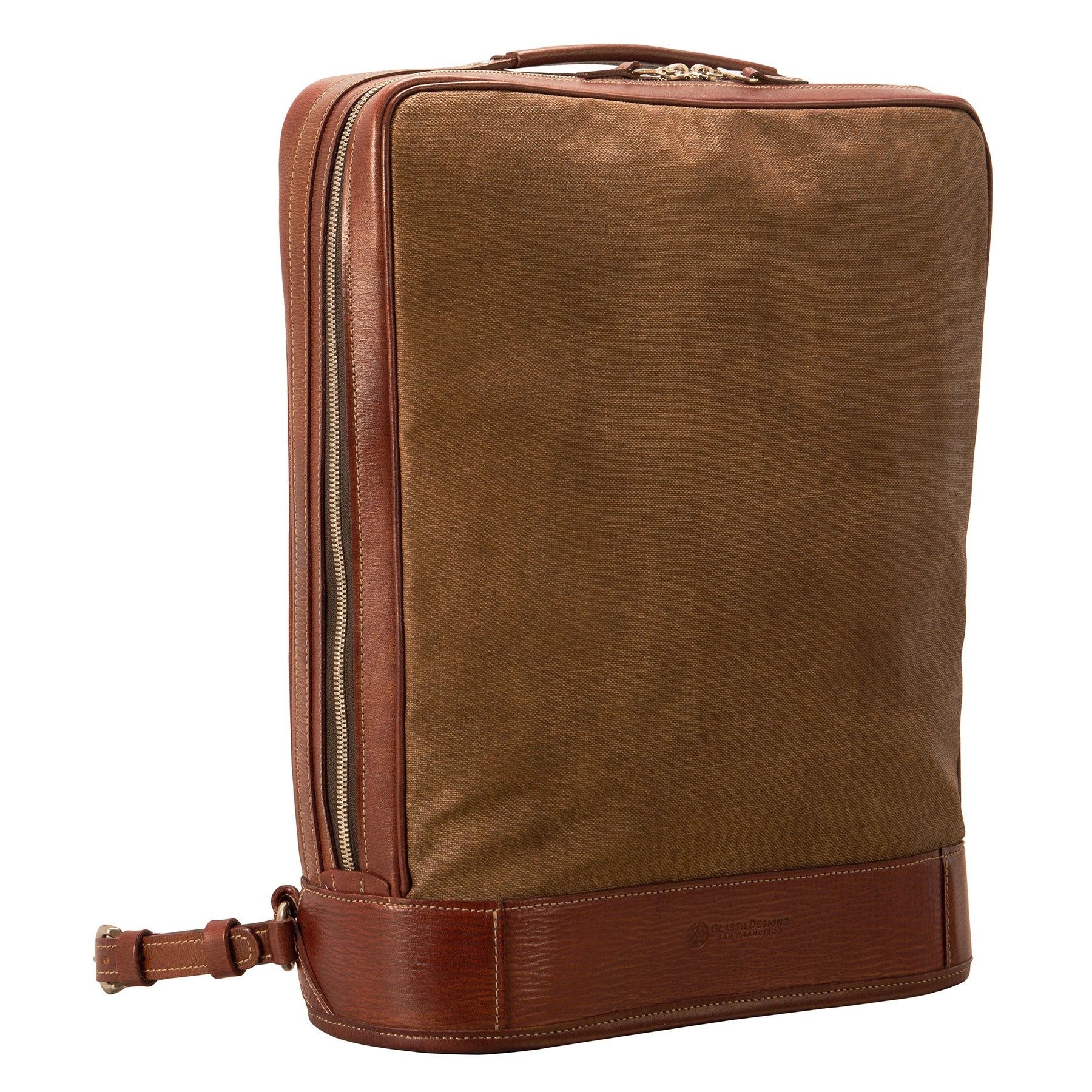 Glaser Designs Business Backpack. Hand colored Sienna vegetable tanned leather with Hand painted Tuscan Brown linen. Solid brass hardware. Made to measure, custom size.