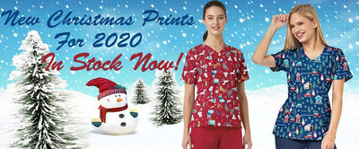 Christmas Scrubs with Printed Designs and Patterns