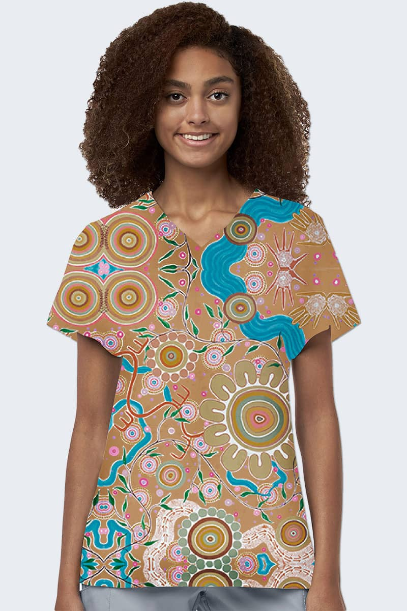 Womens Printed Scrub Tops