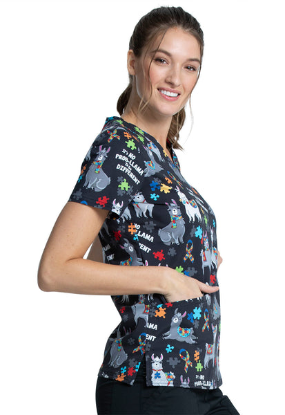 Cherokee CK651 It's no prob - Llama to be different scrub top - austism awareness month Australia