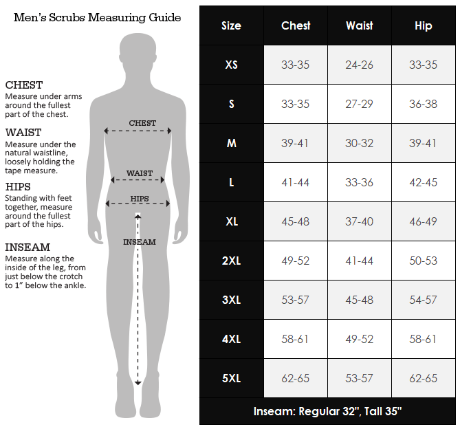 Dickies Men's Size Chart for Scrubs Australia