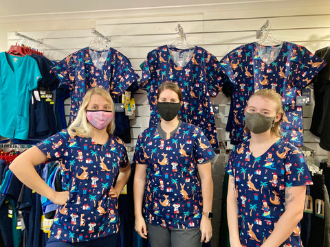 Infectious Clothing Company Christmas Printed Scrub Tops Xmas Patterned