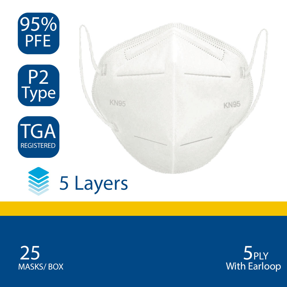 KN95/ P2 Type Face Mask - Hospital Quality Protective Respirator
