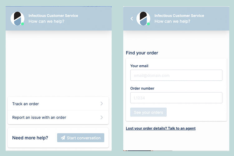 Order Tracking Live Chat App - Infectious Clothing Company