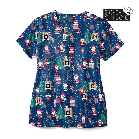 Christmas Scrubs Australia - Night Before Christmas Print Top