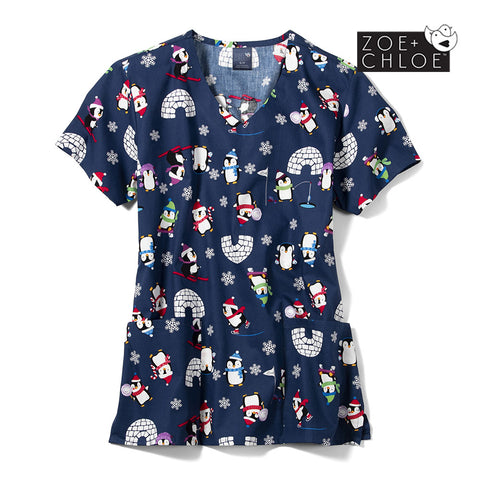 PMC -Penguin March Christmas Print Scrub Top