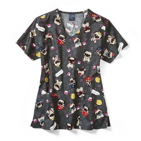 Z12202 PUL Pug Life Dog Print Scrub Top - Infectious Online