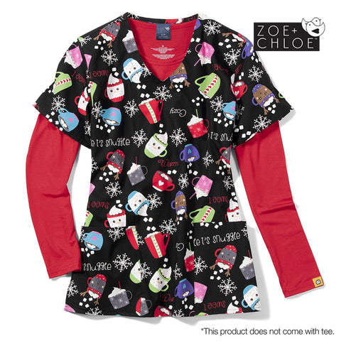 Christmas Scrubs Australia - Snuggle Buddy Winter Print Top