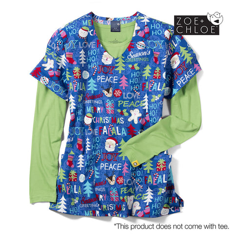 Christmas Scrubs Australia - Season's Greeting Print Scrub Top