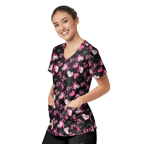 Z+C Hope Full Pink Ribbon Breast Cancer Awareness Scrubs October