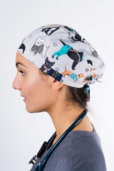 SC-01 Dr. Woof Hipster Dogs Printed Scrub Hat with back-tie