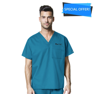 100 USC WonderWORK Unisex V-Neck Nurses Scrub Top - Infectious Clothing Company