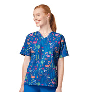 6017 Be Flamazing WonderWink Women's Printed Scrub Top - Infectious Clothing Company