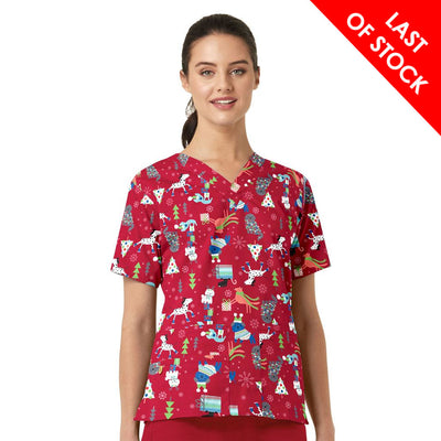 6017 Christmas Puppy Women's V-Neck Animal Xmas Print Scrub Top