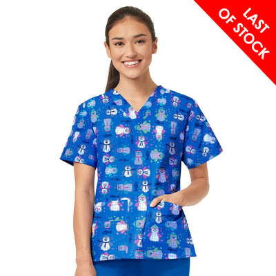 6017 Northern Friends WonderWink Women's Print Scrub Top