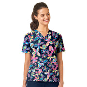 6017 Pretty Fleet WonderWink Women's Printed Scrub Top - Infectious Clothing Company